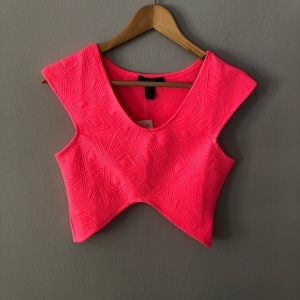 Forever 21 hot pink crop top size small